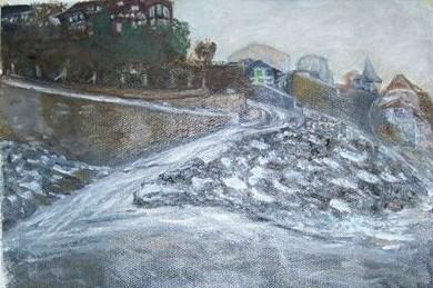 La c�te en hiver, Normandie, huile sur toile