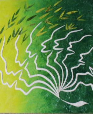 création sur bois - cires végétales pigmentées - bambou - 80/70 cm