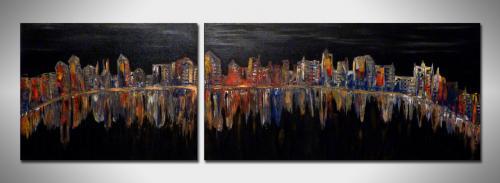 dCREATION   ~ Toile Abstraite 30T ~  Superbe Diptyque - 2 Peintures sur toile   Acrylique  Dimension : 50x40 cm - 80x40 cm   Site Web : www.albert-derriennic.frescription