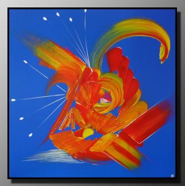 BALLADE BLEUE Taille : 60X60 (3D) Peinture abstraite   Acrylique au couteau/pinceau Toile sur ch�ssis bois Cotation Drouot Site officiel : http://www.mapeinturesurtoile.com Prix : me contacter