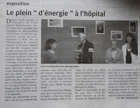1er Article de presse de La Nouvelle République du Mardi 02 Octobre 2012 à l'occasion du Vernissage.