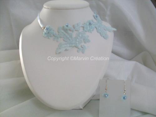 Parure dentelle et ruban satin bleu, vert, perles nacre de