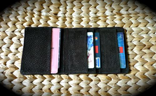 étui cartes (ouvert) de crédits et porte billets,cuir veau souple.