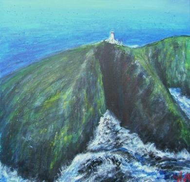 Le phare de Bare-Head, Hébrides, Ecosse, acrylique sur toile