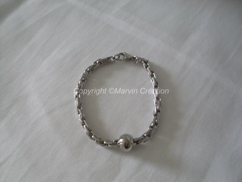 Bracelet homme (20cm) inox, perle inox Réf: BRH0515