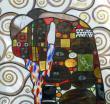 Vitrail d'après la mosaïque « l'Accomplissement » de Klimt - Montage plomb et Tiffany - Peinture à la grisaille, émail et dorure