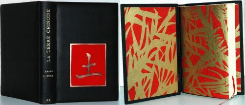 Pearl Buck : Terre chinoise Email champlevé : la Terre en chinois Papier de garde : bambous Reliure pleine peau, buffle noir Dorure à la feuille d'or 22 carats