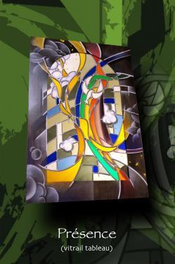 Arcensphère (vitrail tableau) 100 cm x 100 cm technique traditionnelle et peinture sur verre (grisaille, céments) verre couleur antique encadrement bois (dessin au pastel sec)