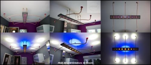 Lampe à suspension en frêne massif. Suspension réalisée avec de la véritable corde de chanvre