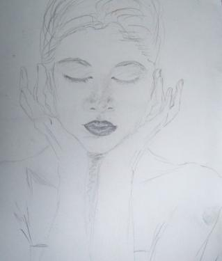 La fille aux yeux fermés, crayon sur papier