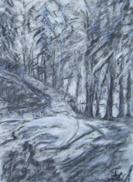 Le chemin dans la forêt, hiver en Bohême, fusain