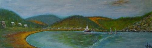 Le lac Orlik, Boh�me, acrylique sur toile