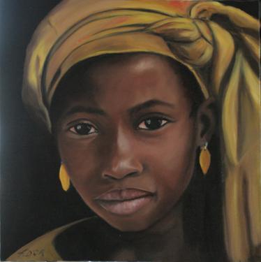 TAHIRA  huile sur toile  30x30 cm