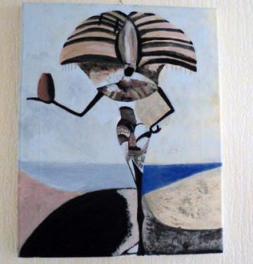 Porteur égyptien,: tableau sur châssis toilé et peinture acrylique