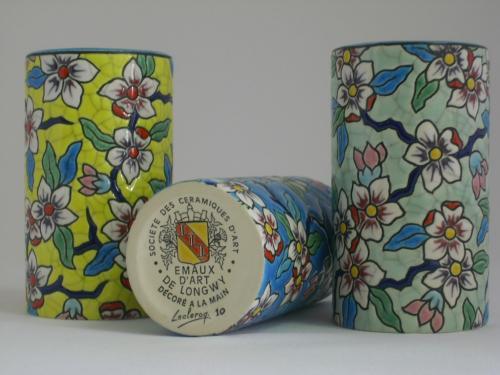 EMAUX D'ART DE LONGWY Création Christian Leclercq 3 Vases rouleau différents coloris