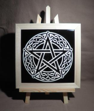 Pentagramme Celtique gravé sur faïence
