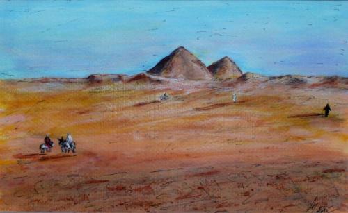 Les pyramides, Egypt, III., acrylique sur papier