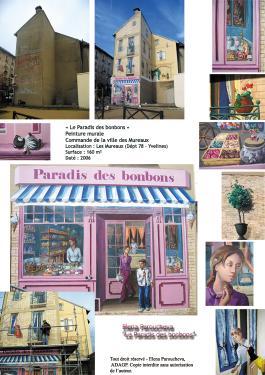 Le Paradie des bonbons - fresque, trompe l'oeil. Fiche: mur avant et après, détails