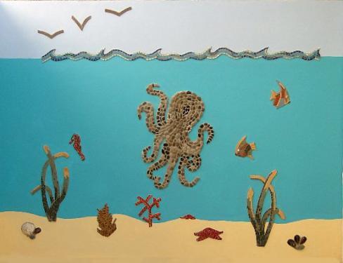 La mer , fresque sur mur