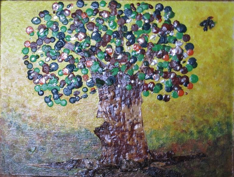 Actualité de NICOLE BOURGAIT THIERRY LE SET DES FLEURS 43.LE POMMIER D'AMOUR - Ecorce de bouleau - Mixte : acrylique et cire - 25 cm/ 35 cm
