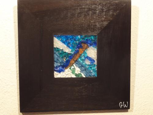 Mosa�que r�alis�e avec des smalts v�nitiens, du verre color� et de la rouille: 10cm/10cm Cadre: 25cm/25cm Rouille 1