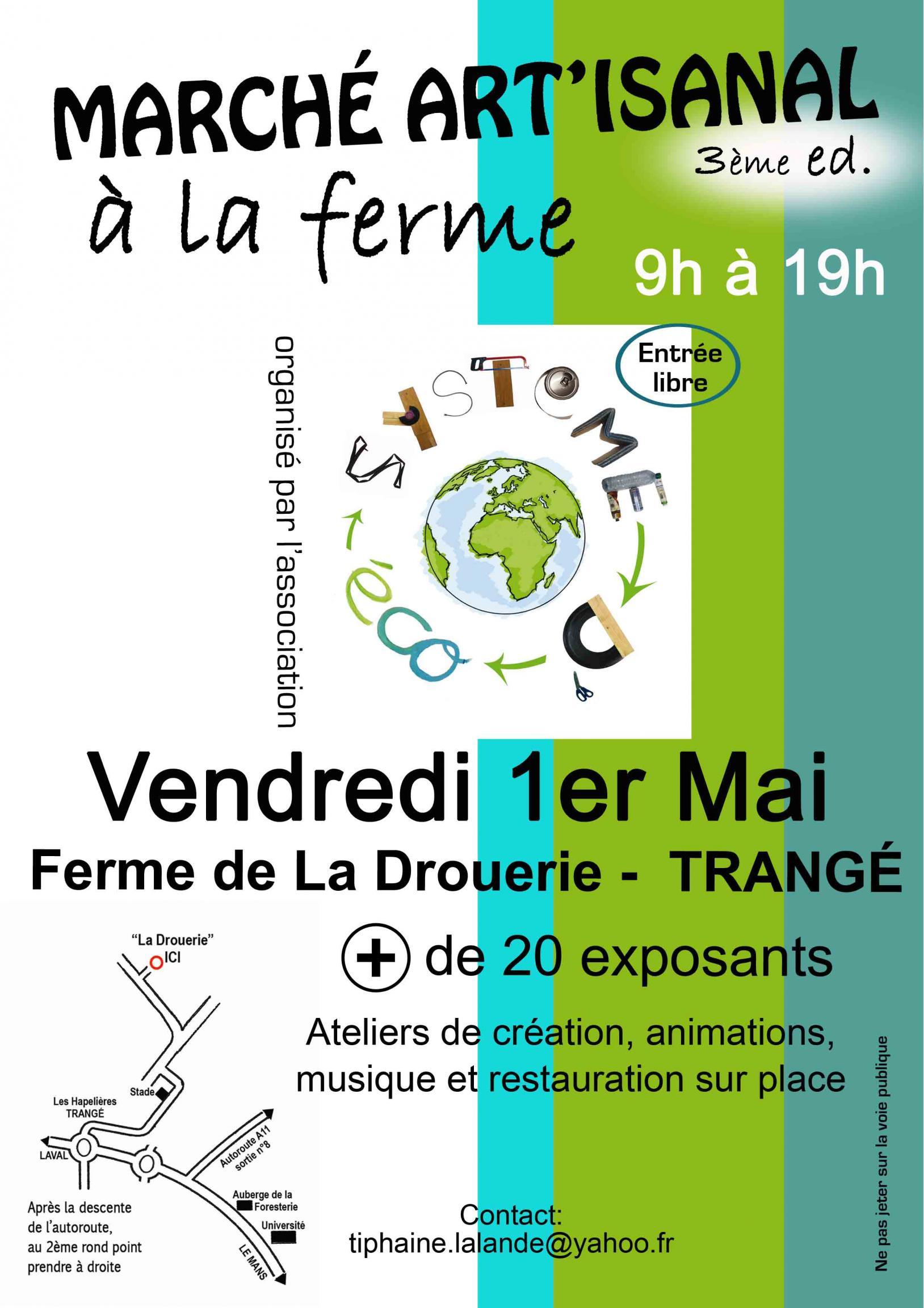 Actualité de Dany Théau Les Ateliers du Petit Pont Tapissier & Restaurateur Marché artisanal à la ferme vend 1er mai à Trangé