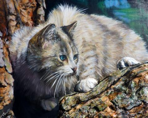 chat dans un arbre  tableau de peinture sculpté au mortier en 3D sur toile en vente sur mon site