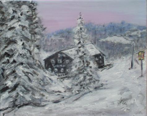 Zizkova's chalet,Bohême du nord, acrylique sur toile,