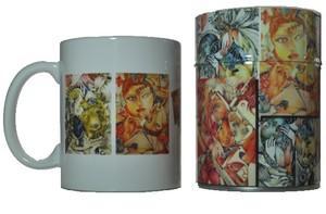 un mug de 30 cl et une boite à thé avec double couvercle (150 g de thé), décorés avec une composition réalisée à partir de 4 dessins de l'artiste maryse-anne couteau
