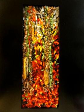 Mosa�que r�alis�e avec du verre Orsoni, Albertini, des min�raux locaux et de la rouille. Tableau inspir� d'une photo de Sylvie Delanoie. Cadre: 50cm/26.5cm Mosa�que: 11cm/30cm