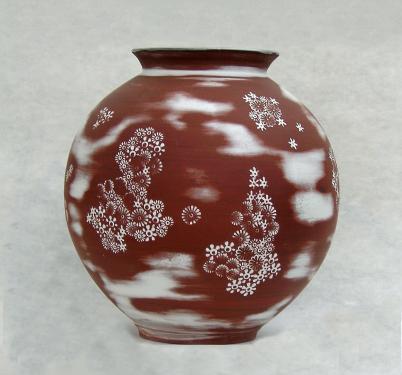 vase impression fleurs; technique coréenne