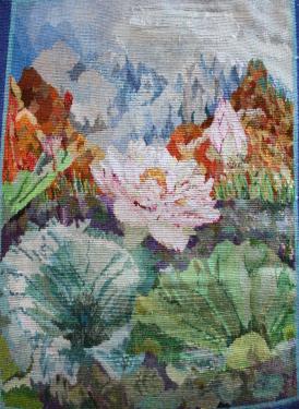 Lotus - Vue d'ensemble   Laine et soie  29 cm x 41 cm