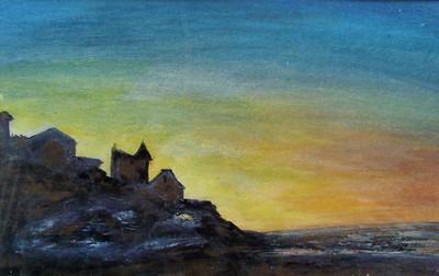 La nuit sur la c�te, Normandie, acrylique sur tole