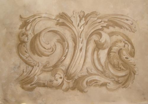 toile de décor feuille d'acanthe pouvant être montée en tête de lit. PRIX 290 euros