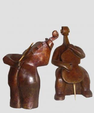 Les musiciens Bronze - tirages num�rot�s /8 (la paire)