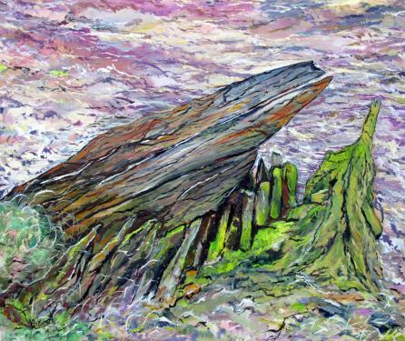 TITRE : Mémoire (épave en baie d'Audierne-Finistère) Huile sur toile 65x54