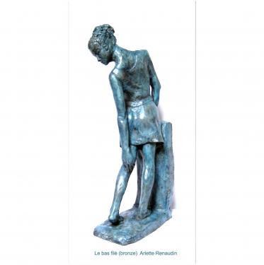 Le bas filé  bronze patine bleue 47x10x40 cm