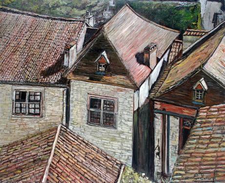 HUILE SUR TOILE 73X60 TITRE : MOSAIQUES (Village du Lot)