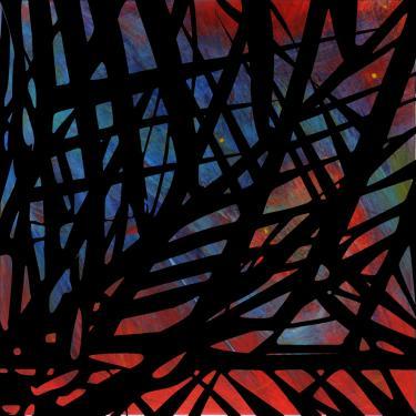 description: petite table basse peinte au glacis acrylique, le graphisme noir est peint au pochoir. Verni P.U. poli brillant