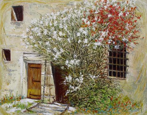 HUILE SUR TOILE 81X65 TITRE : LE LAURIER DES LICES (Cité de Carcassonne)