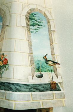 Trompe l'oeil sur la hotte d'une cheminée - 3 surfaces de peinture murale. Pnoto de surface droite.