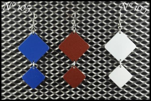 Bijoux aluminium N°105 Longueur 5.5 cm. Plusieurs couleurs disponibles et personnalisables.