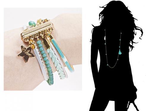 bracelet Manchette à fermoir aimanté,  en Cristal, cuir & rubans, Sautoir cristal & pierres assorti