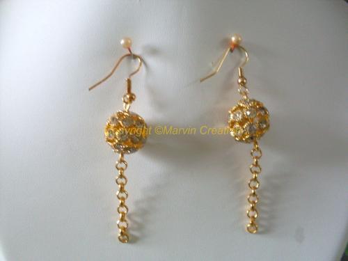 B.O Boules dorées diamantées + chainette doré Réf: BO12148