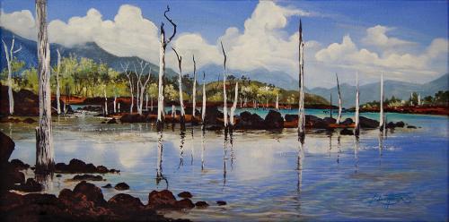N°18 Lac de Yaté - SUD Acrylique sur toile 60 X 3O