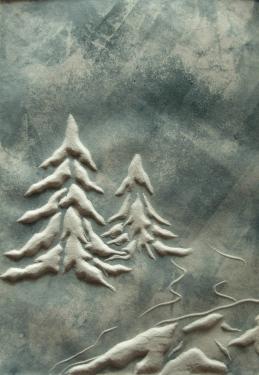 Sapins Estampe originale avec relief   15x21 tirage limité