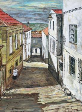 HUILE SUR TOILE DE LIN  61X46 TITRE : VIEUX QUARTIERS A GUARDA ( Portugal)Encadré