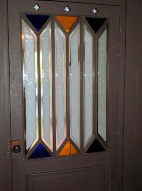 Porte en rénovation. Fusing opale et verres colorés St Just