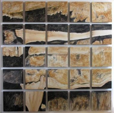 les Traces - Assemblage en Lave - commande publique - réalisé en 2000 - ville de Cournon d'Auvergne
