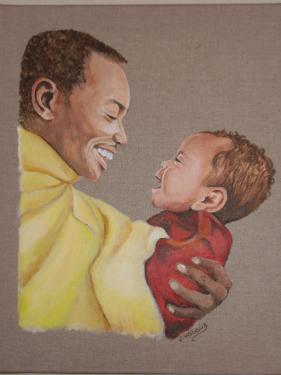 P�re et fils, portrait acrylique r�alis� � la main d'apr�s photographie, sur lin brut. Format 40x50cm. Vernis. Tarif indiqu� hors frais de port